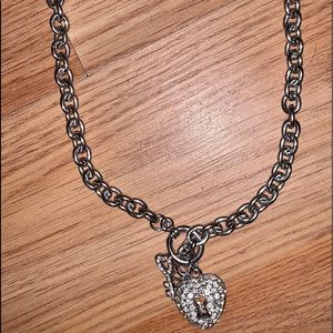 Silver chain necklace cz heart and key charms new